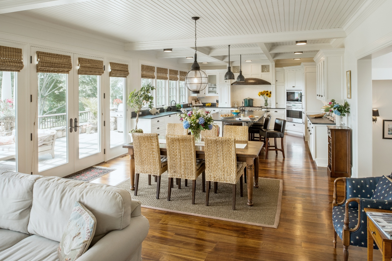 In The Open Floor Plan Great Room Dining Kitchen Of Pen Marc H David Andreozzi Designed Home Featured An Episode New England Living