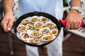 Roasted New England Oysters with Oregano & Chorizo Oil