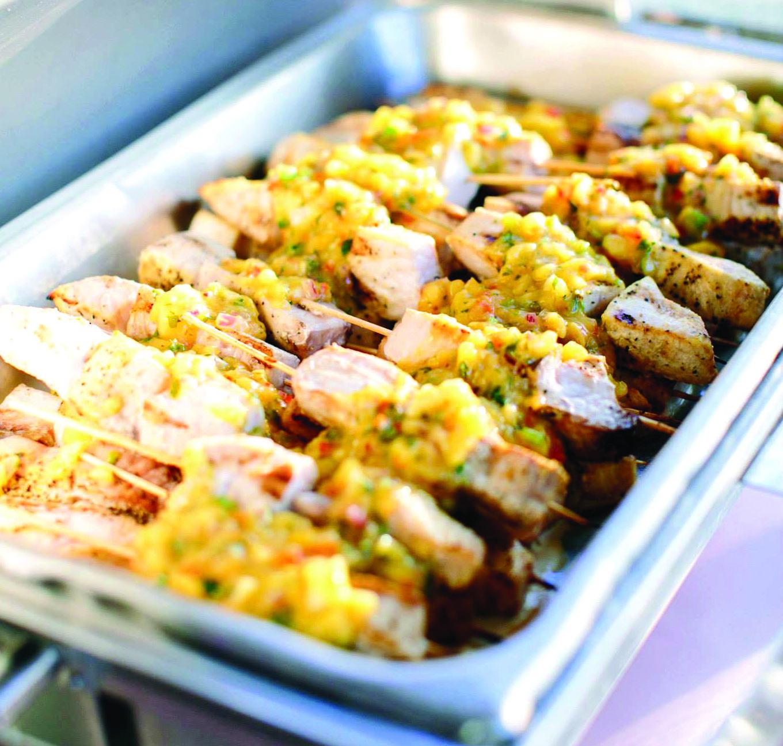Mango salsa grilled chicken skewers