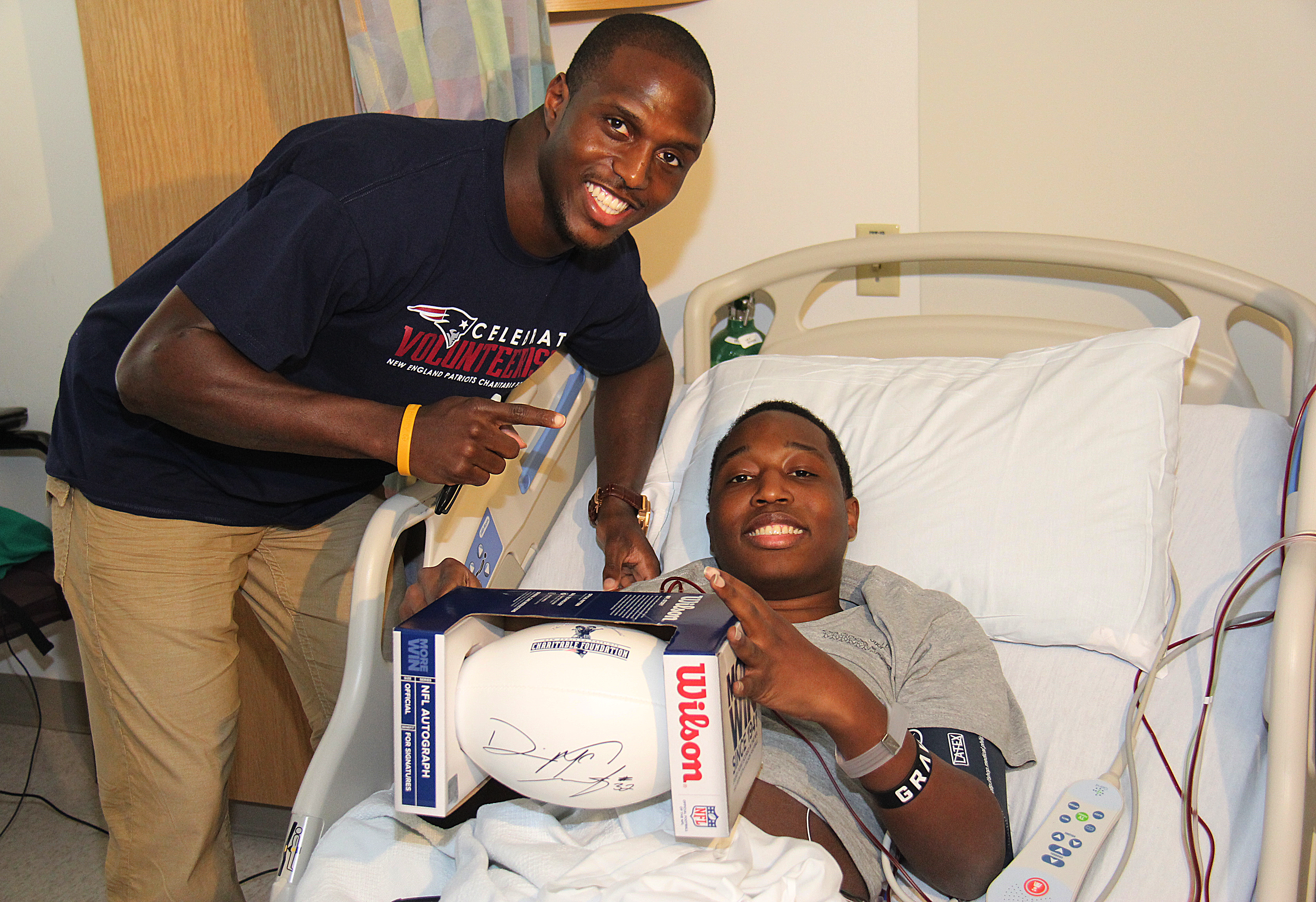 McCourty visiting patients at Boston Children's Hospital.