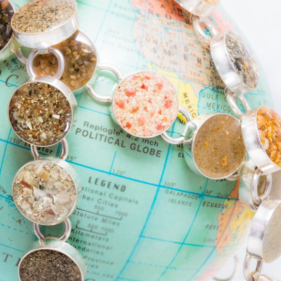 Dune Jewelry - Traveler Bracelet - handmade with beach sand from around the world on globe