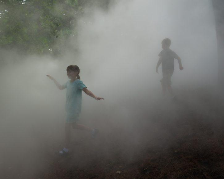 Arnold Arboretum Fog Sculpture, _Fog x FLO's Fog x Hill_ (with kids) by Melissa Ostrow