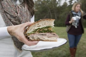 Roast Beef Picnic Loaf with Horseradish and Fried Onions